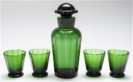 Green Glass Decanter & Cordial Set, 5 Pieces