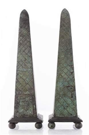 Maitland Smith Attr. Modern Bronze Obelisks, Pair