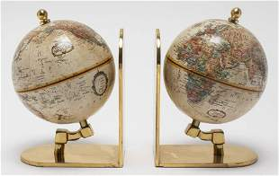 World Globe on English Brass Bookends, Pair