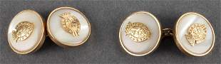18K Gold Mother-Of-Pearl Crest Round Cufflinks