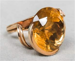 Mid-Century Modern 14K Yellow Gold & Citrine Ring
