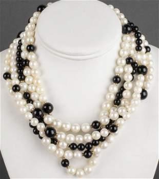 14K Clasp Multi-Strand Pearl & Onyx Necklace