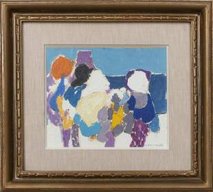 """Denise Bourdouxhe """"Bains de Soleil"""" Oil on Paper"""