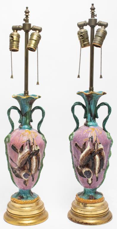 Majolica Polychrome Ceramic Lamps, Pair