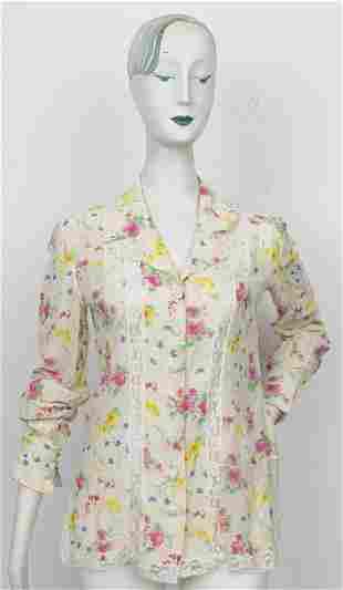 Emanuel Ungaro Lace Trimmed Floral Blouse