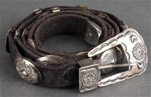 Jerry Werito Navajo Silver Concho Leather Belt