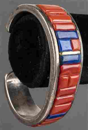 Paul Livingston Silver/14K Lapis & Coral Bracelet