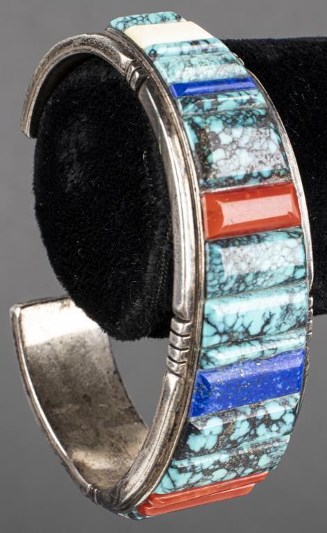 Navajo Silver Turquoise, Lapis & Coral Bracelet