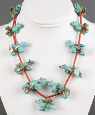 Zuni Silver & Multi-Stone Animal Fetish Necklace