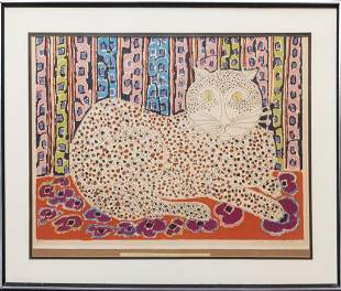 """Gloria Vanderbilt """"Speckled Cat"""" Serigraph"""