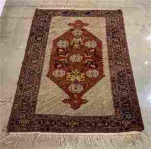 Persian Silk on Wool Area Rug 5 x 4