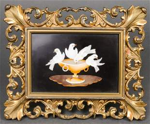 "Italian Pietra Dura ""Four Birds"" Framed Plaque"