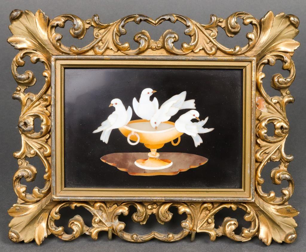 """Italian Pietra Dura """"Four Birds"""" Framed Plaque"""