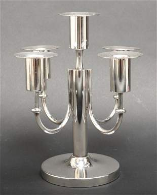 Tommi Parzinger Modern Silver-Plate Candelabrum