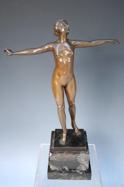 German Bronze Nude Figure Otto Hoffmann 20th C.