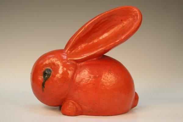 Walter Bosse Modernist Ceramic Orange Rabbit 1930s