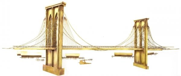 Brooklyn Bridge Brass Sculpture Curtis Jere 1970s