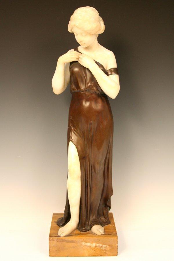 German Nouveau Female Bronze & Marble Figure