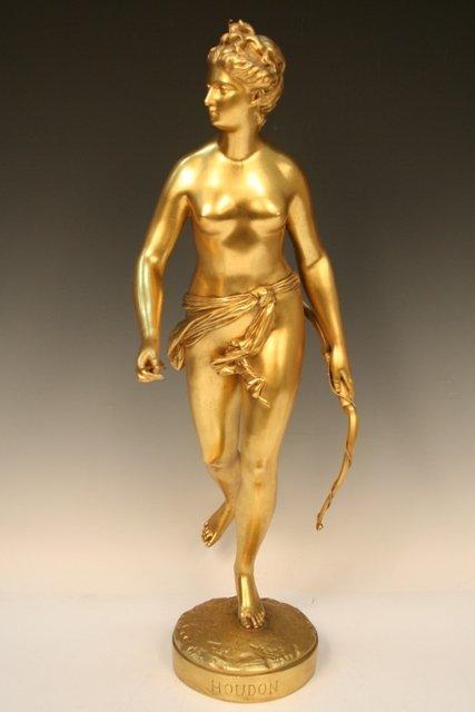 French Gilt-Bronze Diana Signed Houdon ca. 1880
