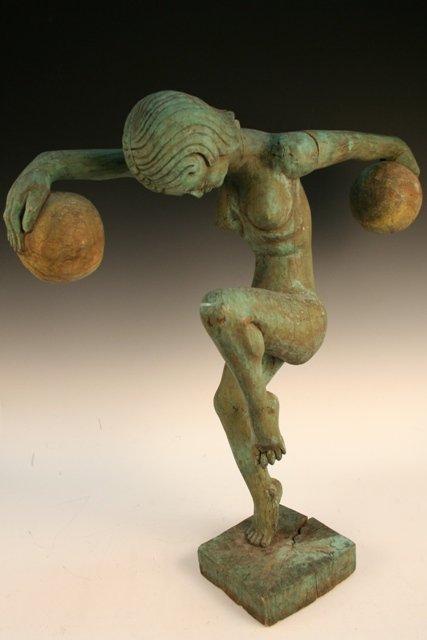 Art Deco Wood Sculpture of a Nude Woman