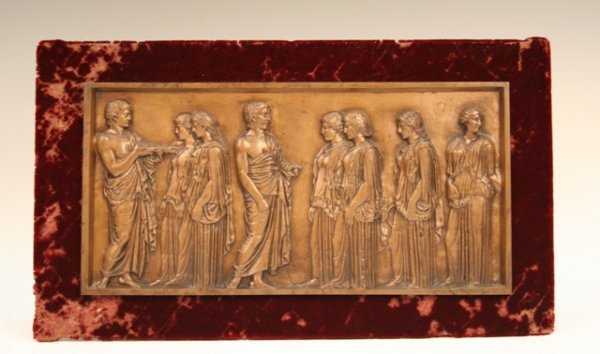 French Bronze Plaque Classical Scene Barbedienne