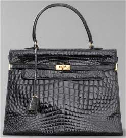 Vintage Black Alligator 'Kelly' Handbag