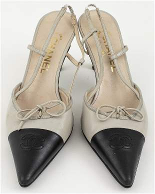 Chanel Black And Grey Leather Shoes, Sz. 39.5