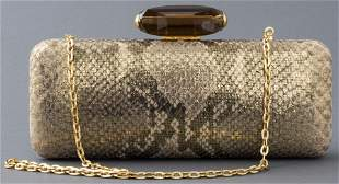 Judith Leiber Gold-Tone Python-Print Handbag