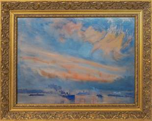 """Seascape at Sunset"" Print in Gilt Frame"