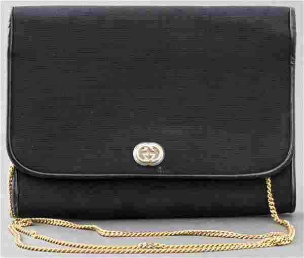 Gucci Black Leather Trimmed Clutch Handbag