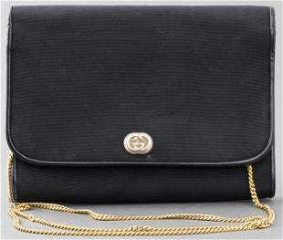 Gucci Black Leather Trimmed Clutch Handbag