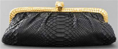 Clara Kasavina Black Snake Print Clutch