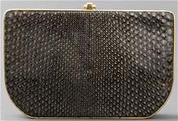 Fendi Black and Gold-Tone Python Clutch Handbag