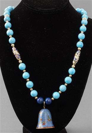 Chinese Beaded & Cloisonne Enamel Pendant Necklace
