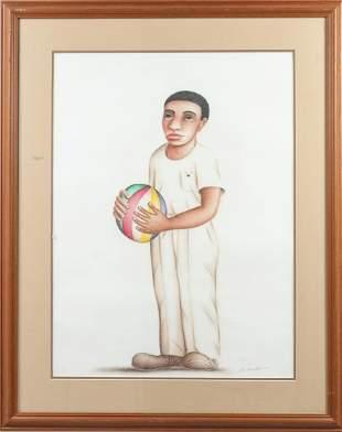 Felix Gonzalez Cuban School Boy w Ball Mixed Media