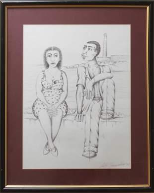 Felix Gonzalez Cuban School Ink Drawing