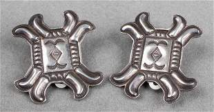 Native American Navajo Silver Clip Earrings