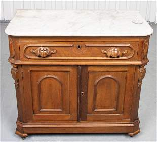 Baroque Style Cupboard With White Marble Top