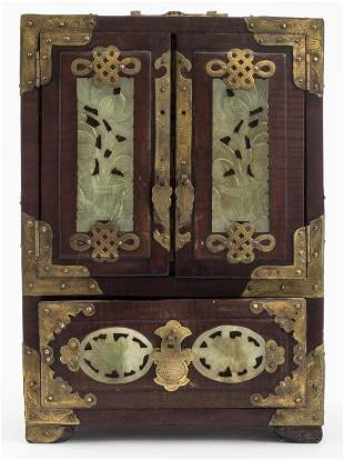 Chinese Carved Jade And Brass Jewelry Cabinet