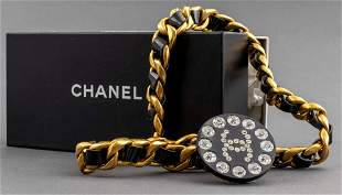 Chanel Link With Black Leather And Crystals Belt