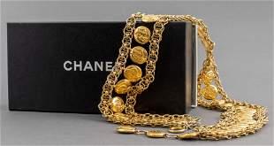 Chanel Adjustable Gold-Tone Medallion Belt