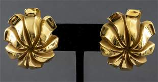 Tiffany & Co 18K Yellow Gold Floriform Earrings