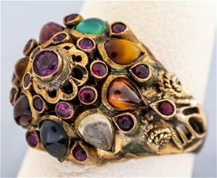 Antique Persian 14K Colored Stone Cluster Ring