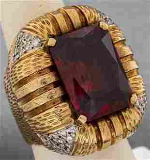 Vintage 14K Yellow Gold, Red Stone & Diamond Ring