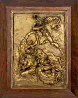 """Aime-Jules Dalou """"Les Châtiments"""" Bronze Relief"""
