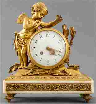 Louis XVI Style Gilt Bronze Cherub Mantel Clock
