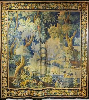 Flemish Verdure Landscape Tapestry, Antique