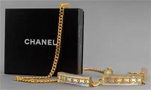 Chanel Adjustable Gold-Tone Link And Lucite Belt