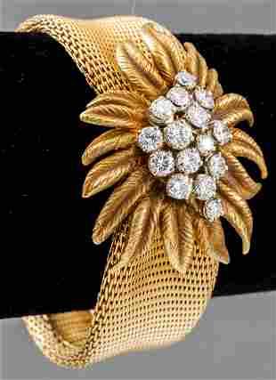 Vintage 18K Yellow Gold Diamond Mesh Bracelet