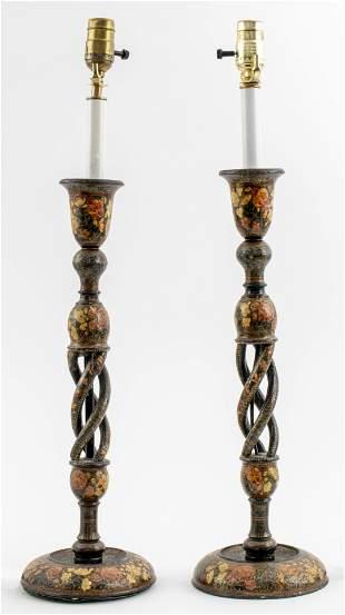Victorian Painted Papier Mache Lamps, Pair